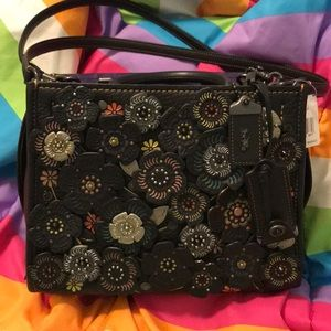 Coach Tooled Tea Rose Rogue 25 Black